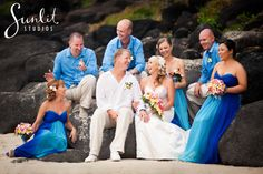Bright Blue Wedding Colour and Frangipani flowers. Perfect beach theme! Photography by Sunlit Studios on the Gold Coast.
