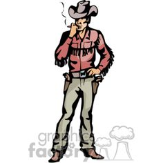 Cartoon of A Cowboy Standing Thinking Smoking vector clip art image number Image formats available GIF, JPG, PNG and printable EPS, SVG. Western Clip Art, Smoke Vector, Art Images, Westerns, Cartoon, Illustration, Smoking, Coloring, Commercial