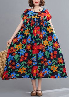 Bohemian navy print clothes o neck pockets robes summer Dresses Summer Dress Outfits, Casual Summer Dresses, Summer Dresses For Women, Spring Dresses, Spring Outfits, Floral Dresses, Cotton Dresses, Spring Clothes, Summer Maxi