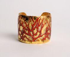 Lux Bond & Green | Evacateur Red Coral Gold Leaf Cuff Bracelet…