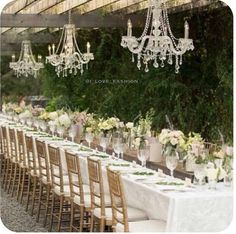 This will be a dream come true! Chandeliers outdoors for elegant vintage style wedding reception, or garden party; upcycle, recycle, salvage, diy, repurpose!  For ideas and goods shop at Estate ReSale & ReDesign, Bonita Springs, FL