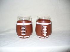 Football hand painted stemless wine glasses by crazylu on Etsy, $24.00