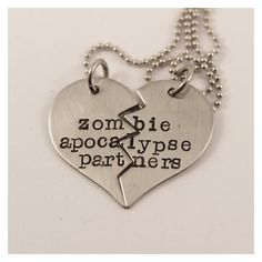 Necklace Set Zombie Apocalypse Partners Best Friends/Couples Hand Stamped Stainless Steel - Bestfriend Shirts - Ideas of Bestfriend Shirts - Necklace Set Zombie Apocalypse Partners Best Friends/Couples Hand Stamped Stainless Steel Bff Necklaces, Best Friend Necklaces, Couple Necklaces, Diamond Cross Necklaces, Best Friend Jewelry, Diamond Solitaire Necklace, Friendship Necklaces, Friend Rings, Matching Necklaces