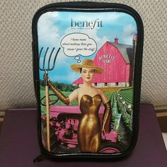 Benefit Makeup Bag This bag is new. Approximate measurements at the widest points are : 7 inches high, 4 3/4 inches wide and 1 1/2 inches in depth.   No trades.   Please submit any offers though the offer option Benefit Bags Cosmetic Bags & Cases