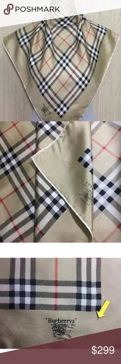2665b0c5bba1a authentic BURBERRY tan Nova Chek silk scarf  495