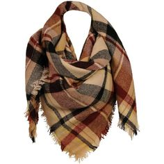 Sylvia Alexander Plaid Scarf w/ Fringe Detail ($24) ❤ liked on Polyvore featuring accessories, scarves, fringe scarves, plaid shawl, plaid wraps shawls, wrap shawl and tartan wrap shawl