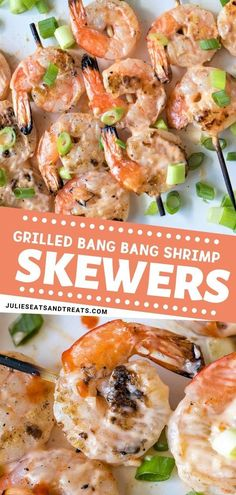 A yummy grilled shrimp skewers recipe perfect for a weekend summer barbeque party! Perfectly covered with creamy, spicy and sweet chili sauce, Grilled bang bang shrimp skewers is a perfect dish indeed! Grill and Enjoy with your kids, family, and guests! Grilled Shrimp Marinade, Easy Grilled Shrimp Recipes, Grilled Shrimp Skewers, Steak And Shrimp, Seafood Recipes, Shrimp Appetizers, Barbeque Shrimp, Barbecue, Summer Barbeque