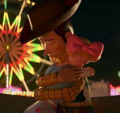 "Woody Pride: ""I love you, Bo."" Bo Peep: ""I love you too, Woody. Disney And Dreamworks, Disney Pixar, Woody, Bo Peep Toy Story, Sad Disney, Disney Romance, Toy Story Movie, Disney Animated Movies, Walt Disney Studios"