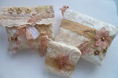 Vintage shabby chic styled jewelry purse, cash purse and cosmetic bag. Handmade with lace and appliques