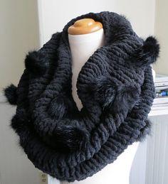 Faux Fur Pompom CowlRaven Black by atelierfrost on Etsy