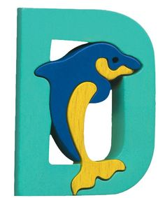 Montessori - Waldorf wooden puzzle letter D, made by hand of maple wood,no harmful colors and no lacquer
