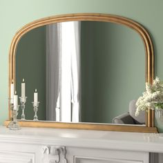 This simple overmantle mirror has classic easy on the eye frame. With it's beautiful arched top this would make a great finishing touch to your mantle Above Fireplace Ideas, Mirror Above Fireplace, Classic Fireplace, Full Length Mirror Wall, Vintage Bathroom Decor, Overmantle Mirror, Mantle Piece, Mirrors Wayfair, Places