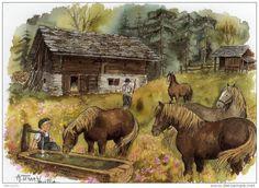 Illustrators only: Annick Terravecchia Marjolein Bastin, Tiger Art, Country Scenes, Watercolor Techniques, Mountain Landscape, Stories For Kids, Cute Illustration, Illustrations, Aesthetic Art