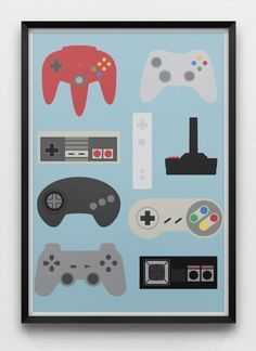 Generations Videogame Controllers Art Print Retro MinimalistGame Console Nintendo Sega Xbox Sony Playstation NES SNES Genesis Megadrive Generations Large Print Print Retro by sonsofwolves on Etsy Retro Videos, Retro Video Games, Minimalistic Design, Geek Mode, Deco Gamer, Playstation, Xbox 360, Home Music, Nintendo Console
