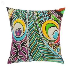 Bring a unique style to your decor with this bright cushion cover. Printed with a batik-style patten of peacock feathers in vivid colours on a black background, it's an ethnic and yet modern accent that's sure to add life to your living spaces.