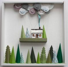 """Cloud Cottage"" papercut sculpture by Helen Musselwhite"