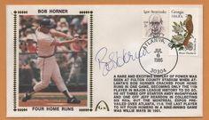Bob Horner BLEM 4 Home Runs Signed Gateway Stamp Envelope - Atlanta Braves #AtlantaBraves