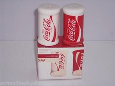 Coke Coca Cola Ceramic Salt & Pepper Shakers NEW