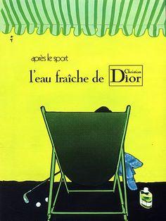 """«Christian Dior, Eau Fraîche (1972). Ilustración """"Golf"""" por virtuoso René Gruau»."""