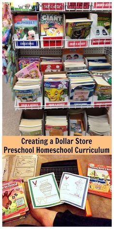 Details almost everything you can buy from a dollar store and use for preschool homeschool. GREAT ideas! Love that she cuts apart the workbooks - because it is cheaper than printer ink - to build lessons.