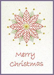 Pine Cones and Poinsettia Prick 'n Stitch Card Designs