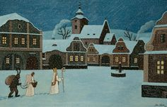 Fotogalerie: Dosavadní rekord má Ladův obraz Ponocný z roku Winter Scene Paintings, St Nicholas Day, Winter Scenes, Christmas Inspiration, Christmas Traditions, Czech Republic, Winter Wonderland, Silhouettes, Illustrators
