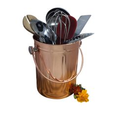 Copper Utensil Holder Caddy for Kitchen Tool Organizer -Large 1 Gallon Capacity