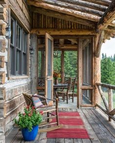 Breathtaking rustic mountain home in Big Sky: Ansel Haus-SR I love square logs and the screen porch. Cabin Porches, Farmhouse Front Porches, Rustic Farmhouse, Rustic Porches, Screened Porches, Rustic Cottage, Farmhouse Ideas, Cabin In The Woods, Building A Porch
