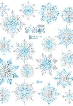 Snowflakes Silver. 18 Watercolor separate Elements by OctopusArtis