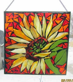 Happy Flower Stained Glass SunCatcher or wall Decoration. $30.00, via Etsy.