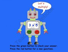 This is a Smart Notebook 11 file with 6 pages. It is an interactive SMARTboard activity. The Multiplication Robot gives a multiplication question. Robot Classroom, 2nd Grade Classroom, Classroom Themes, Fifth Grade Math, Grade 3, Second Grade, Teaching Tools, Teaching Ideas, Stuff For Free
