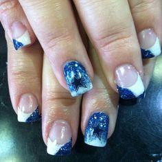 Dallas cowboys acrylic nails by Maria at Class A Barbershop & Salon