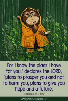 "Jeremiah 29:11 For I know the plans I have for you,"" declares the LORD, ""plans to prosper you and not to harm you, plans to give you hope and a future."
