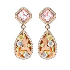 Theo Fennell earrings in white and yellow gold with morganite