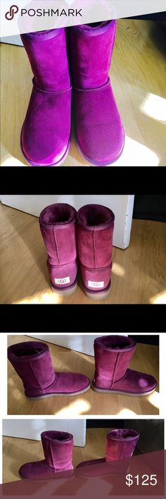 Maroon women's uggs Basically brand new. I've never worn them outside. Some pictures they look purple but they are very much a maroon pink. I found a small spot on the heel of one boot and that is pictured. Originally $160. Offers are allowed. UGG Shoes Winter & Rain Boots