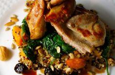 This recipe, Autumn Harvest Quail, was created by Allegra Grant.  #quail  #spinach  #butternutsquash