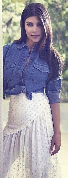 Kourtney Kardashian's white dot skirt, gold jewelry, and denim shirt