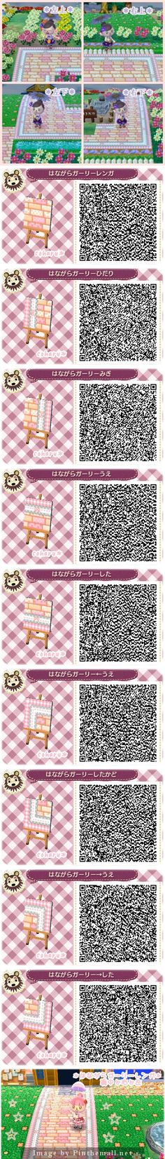 Girly flowery brick path QR codes