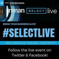Repost @inmannews LIVE IN 1 WEEK! Join our first EVER Livestream real estate event - #SELECTLIVE - Coming to you from our San Francisco studio March 25 from 10 am - 12 noon PST. Inman Select members...