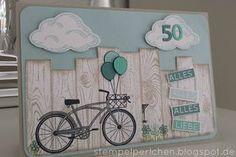 Stempelperlchen : Geburtstagskarte - Online Pins For You Masculine Birthday Cards, Birthday Cards For Men, Masculine Cards, Mason Jar Cards, Bicycle Cards, Karten Diy, Nautical Cards, Easy Paper Crafts, Marianne Design