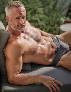 Hairy Guys Are The Hottest! Silver Foxes Men, Men Kissing, Hommes Sexy, Bear Men, Hairy Chest, Male Chest, Mature Men, Shirtless Men, Older Men