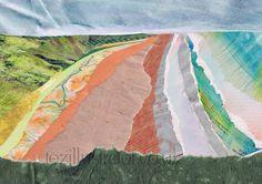 Print of Saunton Sands, North Devon.  Medium: Torn Paper #sauntonsands  #devon #northdevon #southwest #surf #sea #sand #sunshine