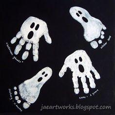 Fingerabdruck, Fussabdruck Geister I Geist, Gespenst  für Halloween basteln / malen
