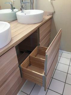 meuble salle de bain ikea en bois : tiroir ouvert