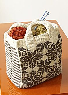 This festive tote is great for any season. Felting makes the bag strong, so use it as a purse, a grocery bag, or for storing your knitting and crochet supplies. (Lion Brand Yarn)