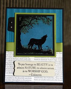 WOW!  This wolf stamp is gorgeous with this layout!  Would be a great masculine card