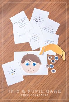 Free printable science game teaching kids about their eyes.