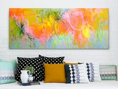 Hand Painted Neon Abstracts on THEHOME.COM.AU