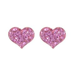 Athra Pink Crystal Heart Post Earring