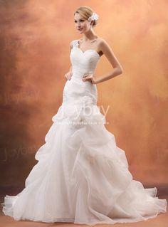One Shoulder Flower Trimmed Organza 2013 Wedding Dresses